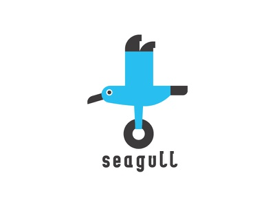 Seagull bird blue gull sea shop bagel seagull