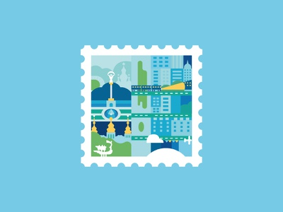 Stamp monuments metro architecture ukraine capital building flat blue illustration kyiv stamp