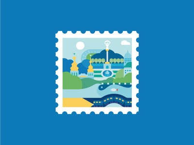 Stamp stamp kyiv illustration blue flat building capital ukraine architecture metro monuments