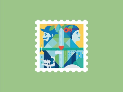 Stamp stamp kyiv illustration faces invite building capital ukraine architecture character monuments