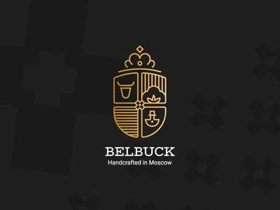 Belbuck handcrafted bool coat of arms crown cotton outline leather