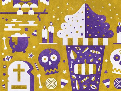 Halloween Card candy pumpkin spice latte bones skull owl card illustration autumn fall halloween