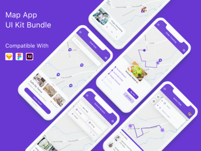 Map App UI Kit Bundle xd adobe xd google maps places map directory kit ui sketch app mobile ui kit