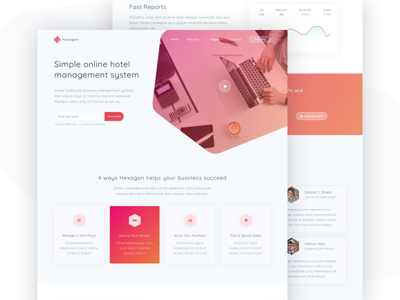 Hexagon - Agency, Startup and SaaS Template creative app portfolio hotel corporate landing themeforest saas startup agency hexagon