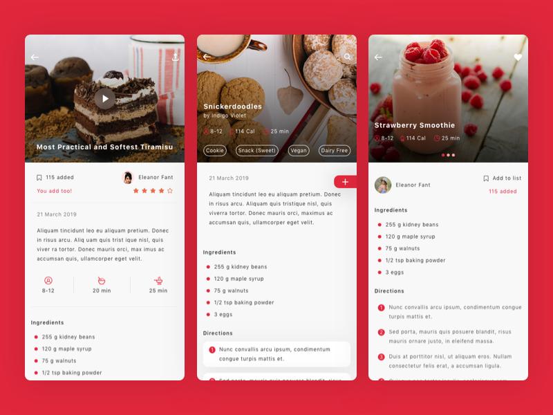 Roka - Recipes and Food Plan App UI Kit delicious recipe restaurant kitchen cooking chef app plan creative recipes food ui kit