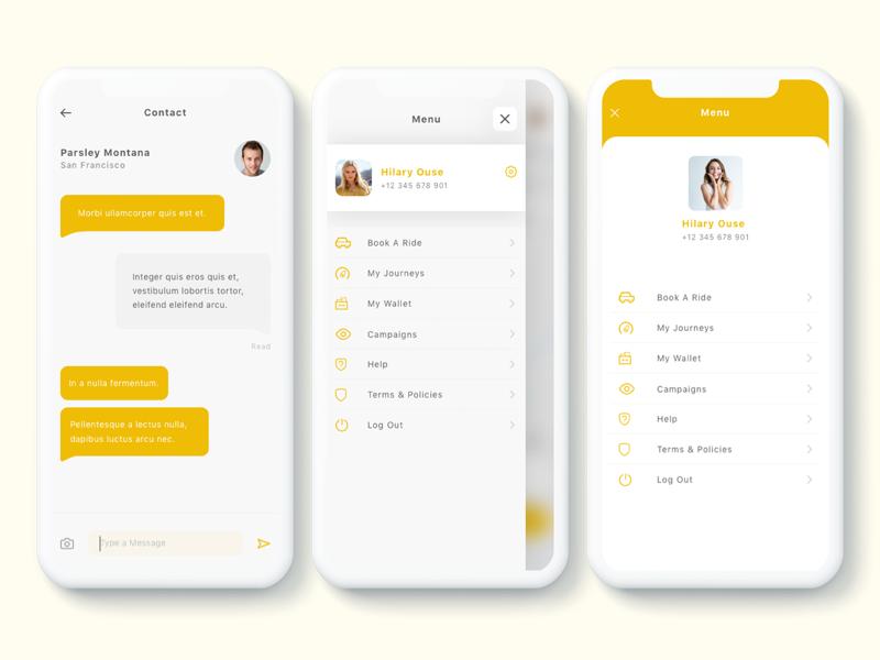 Yunu - Taxi App UI Kit by tempload on Dribbble