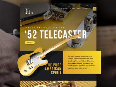 Fender '52 Telecaster ux ui fender telecaster guitar blog landing page design