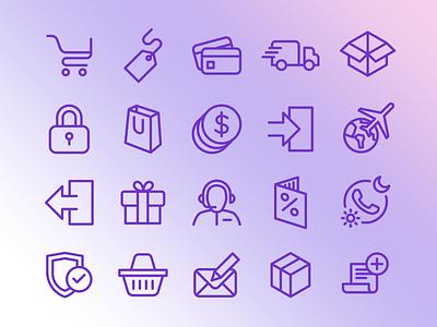 E-commerce Icon Set design uiux store outline icon design ecommerce flat icon set icons