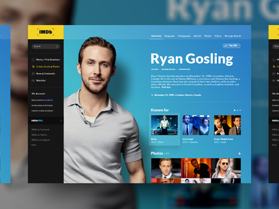 IMDb Page Concept ryan gosling redesign movies site website desktop concept design ui imdb