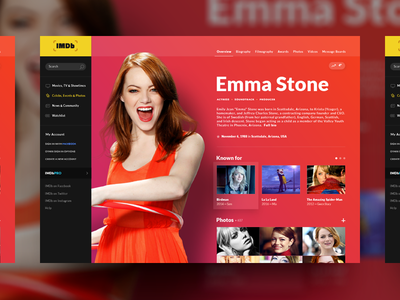 IMDb Page Concept emma stone redesign movies site website desktop concept design ui imdb