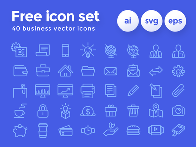 • Freebie • Business Icon Set outline ui ai svg eps freebie vector icons icon set free