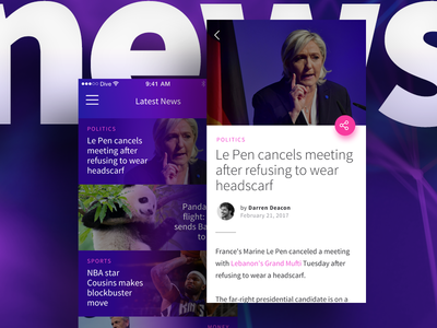 News/Articles Feature blog headlines news list reading news sketch flat app mobile ios design ui