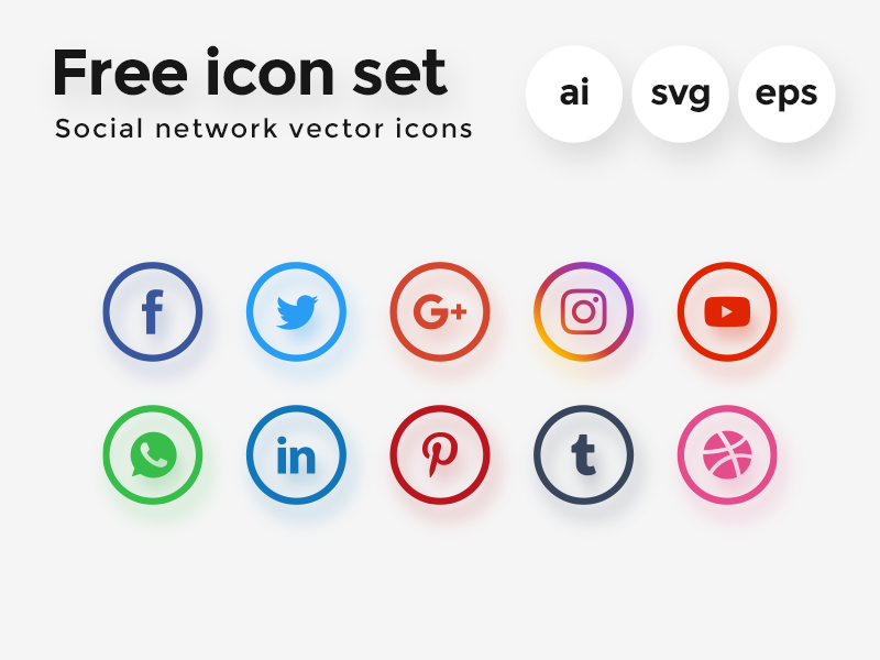 Free Vector Icon Set — Social Network flat design icon design social network icon set freebie free