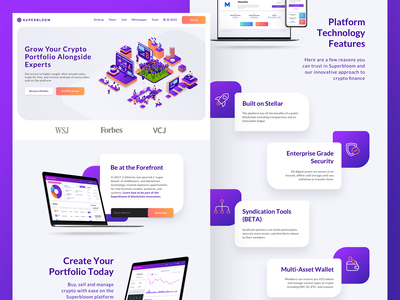 Superbloom Landing Page ui cryptocurrency interface design web design ui design landing page