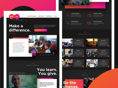 Learn One Give One — Pluralsight education social responsibility onepage landing page design user interface design ui