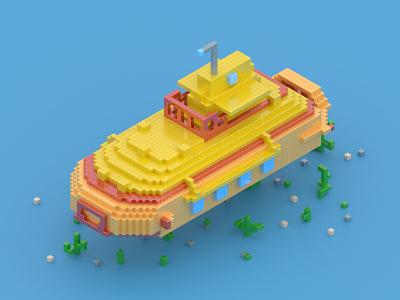 Yellow Submarine 3d pixelart pixel