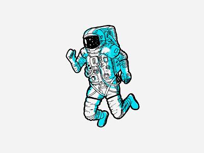 Spaceman Sticker line space illustration sticker