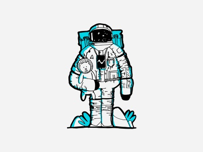 Space Boy & Toy character illustration 2d