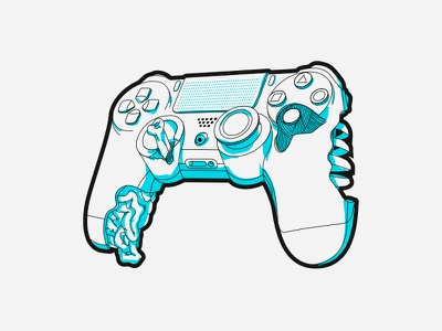 Joystick Skeleton 2d play game inside ribs entrails bones illustration skeleton joystick playstation ps4