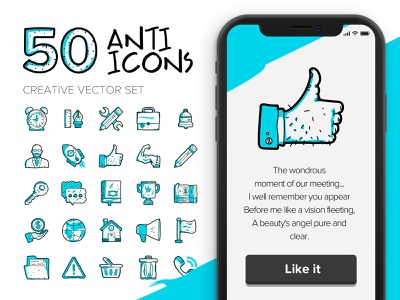 Anti-Icons vector line drawing draw icon set icons set icons