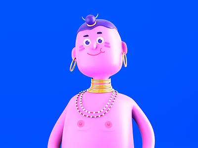 Aloha! render c4d hotnipples cartoon 3d character