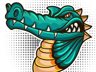 Crocodile Vector mascot  danger predator teeth mascot animal cartoon face vector head retro sticker