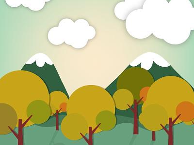 Landscape illustration landscape hill illustration nature background tree vector sky