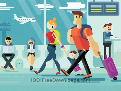 Family strolling through airport man people woman child airport family illustration art love vector holiday sky