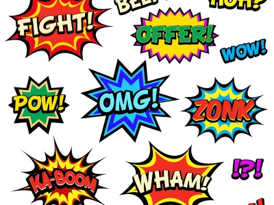 Comic Book Words power exclamation icon super comic cool danger bomb fun conflict explosion burst