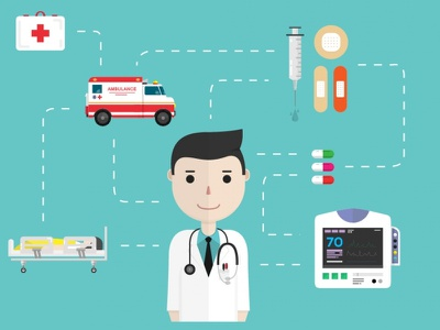 Medical icons in flat style ambulance doctor medical medicine health flat pill sickness vector