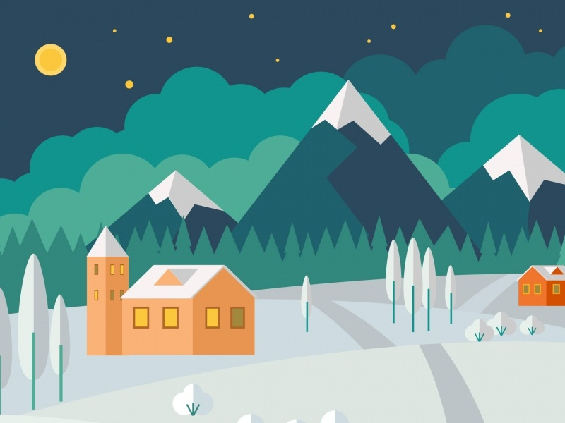 Town Landscape Vector Illustration: Winter Landscape Vector Illustration By 1001FreeDownloads