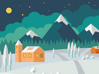 Winter landscape vector illustration time house mountain vector illustration landscape moon night snow forest decorative