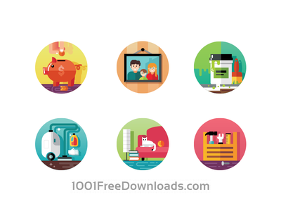 Home Icons icon flat creative pack shape design illustration vector color circle