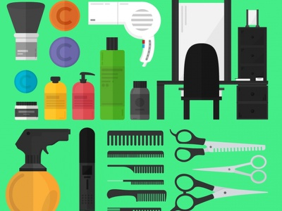 A Hairdresser's Toolset Vector Illustration chair scissors icons spray hairdresser hair set shampoo illustration vector mirror gel
