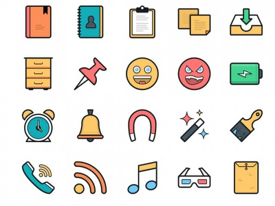 Lulu icons icon icons flat pack filled set outline vector colorful web
