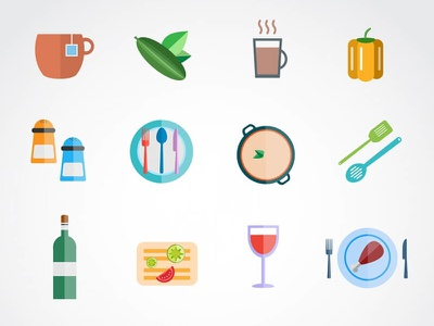 Food Icons apple computer bottle website food icon icons wine fish pizza croissant fruit