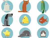 Cute animals vector illustration