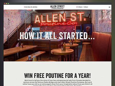 Allen Street Poutine Company Website ux ui branding restaurant website interface design web design