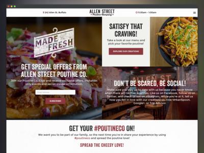Allen Street Poutine Company Website food layout ux ui website web design restaurant website