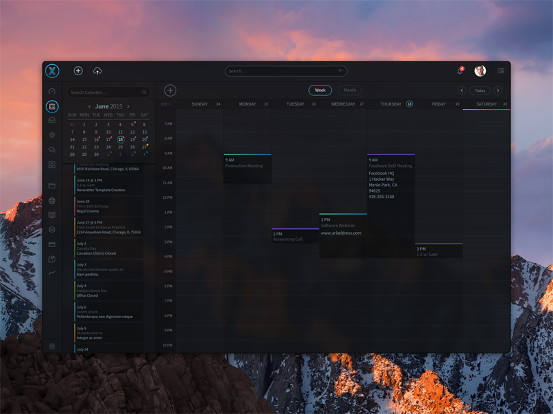 Dark UI Concept dark ui calendar sketch software ui ux web design dashboard