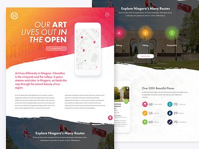 Art in the Open Microsite concept web design local art map app