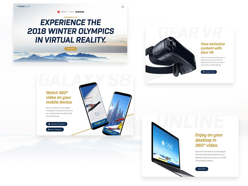 CBC Sports + Samsung VR Microsite landing page virtual reality ui design interactive microsite olympics web design cbc sports samsung vr