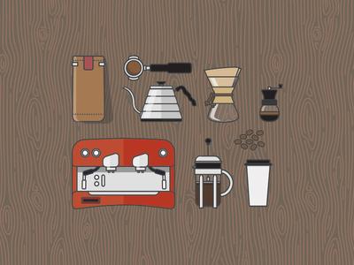 Coffee Essentials Icons xprocrastinationcontest line art french press espresso machine grinder chemex kettle tamper coffee bag icons illustration coffee