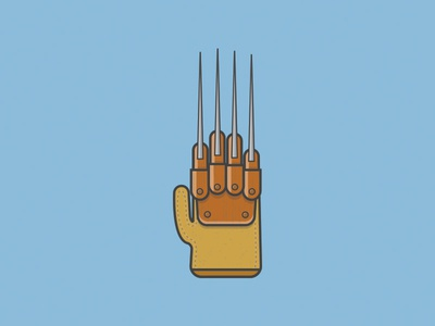 One, two, Freddy's coming for you... horror claws halloween nightmare on elm street icon lineart vector illustration glove