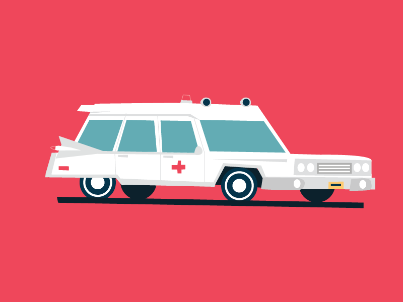 1959 Cadillac High Top Ambulance flat illustration retro old car ambulance car