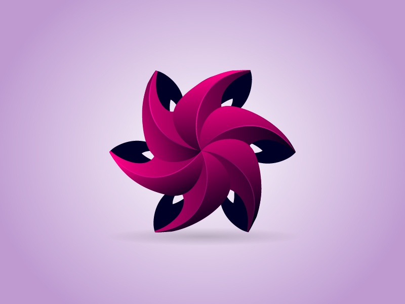 3D flower Logo beauty logo ecology creative geometric leaf shape modern icon symbol flower 3d