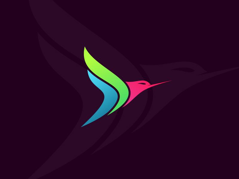 Colorful Bird Logo Concept simple creative trendy flying freedom wing color modern concept symbol logo bird