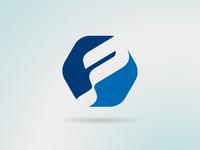 Letter P in hexagon shape logo