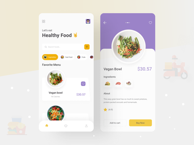 Food Delivery - Mobile App ui delivery truck clean ui mobile app app design mobile ui app mobile app design mobile design food app food and drink food illustration food delivery food delivery app food delivery service food delivery application