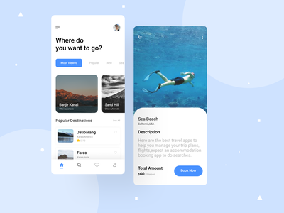Travel Mobile App sea beach clean ui travel agency design ui ux innovation minimal minimalist clean trip traveling travel app map vacation ios tourism mobile ticket hill